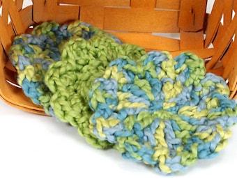 Organic Cotton Flower Face Cloth - Set of 3 -Ocean and Pistachio