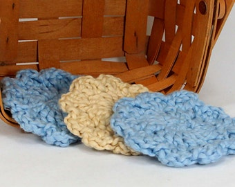 Organic Cotton Flower Face Cloth - Set of 3 - Blueberry and Macadamia