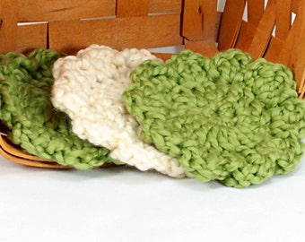 Organic Cotton Face Cloth - Set of 3 - Pistachio and Almond