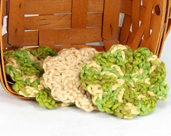 Organic Cotton Flower Face Cloth - Set of 3 - Spring Green and Macadamia