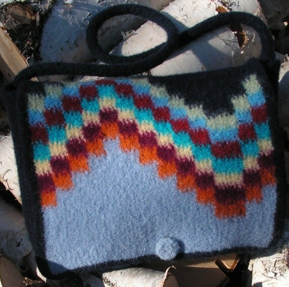 Knitting Pattern - Northern Lights Felted Messenger Tote