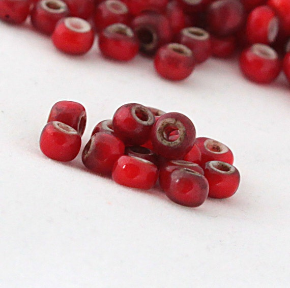 Antique Trade Beads - Red White Hearts - 15 beads - 1800s