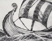 Viking Ship drypoint print