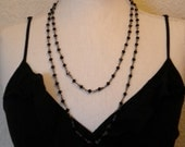 Jackie Necklace double strand swarovski crystals in black and gray