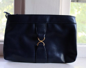 50% off vintage navy blue purse clutch // gold circles