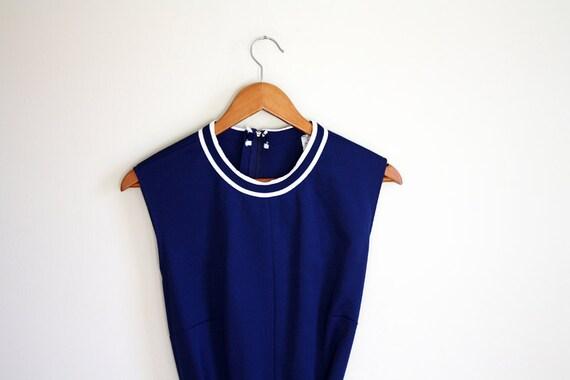 Sailor Blue Vintage Dress // Striped Belt LARGE