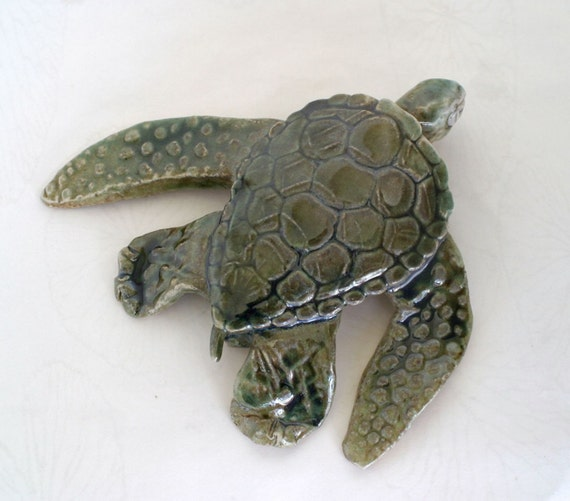 Sea Turtle - Olive Green clay sculpture