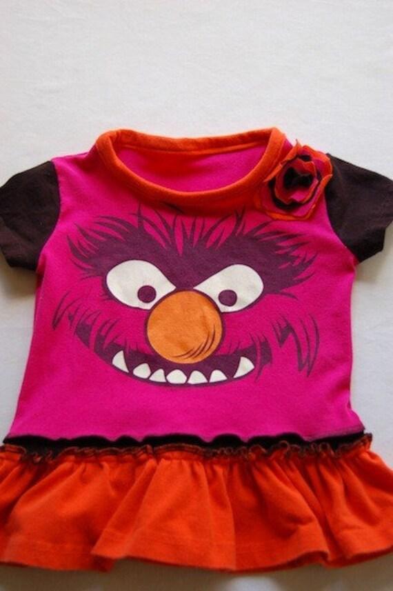 18M - Upcyled Recycled Tshirt Dress 'Animal'
