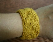 Knitted Wristband - Mustard Cable