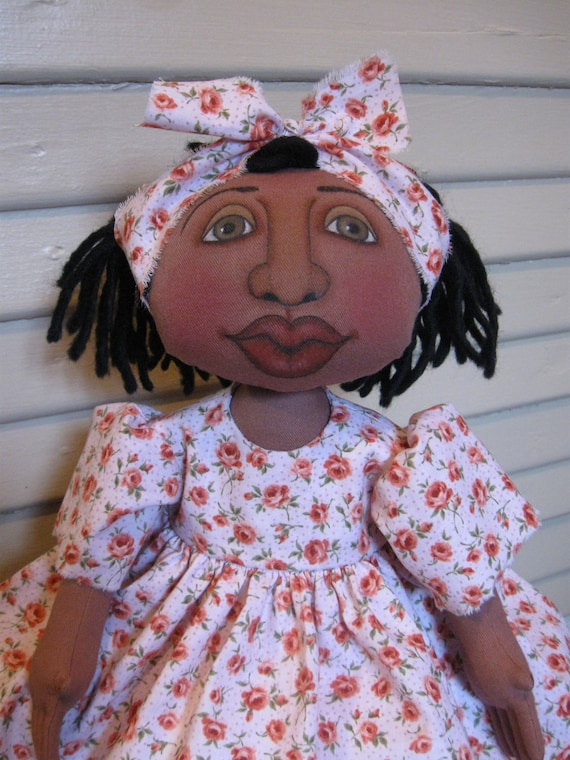 Reserved For Peggy Folk Art Black Doll Handmade Cloth