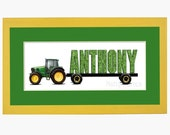 John Deere Tractor Personalized Name Print - Framed