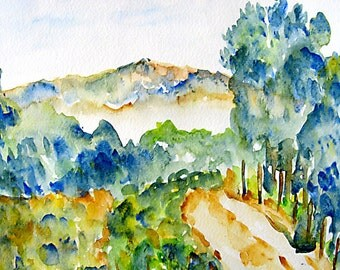 Landscape Watercolor, View Upon a Hike, Print 10x8