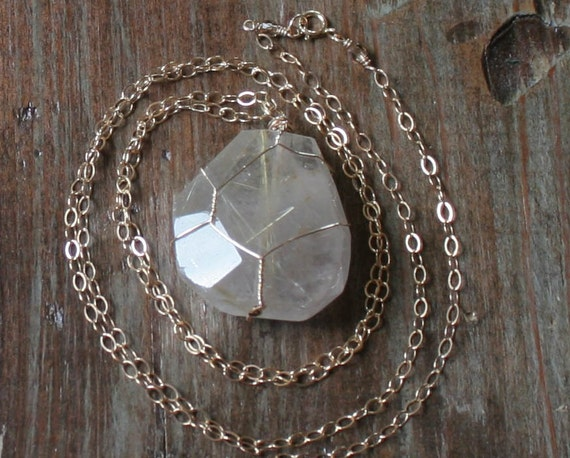 Golden Rutilated Quartz Necklace FREE SHIPPING