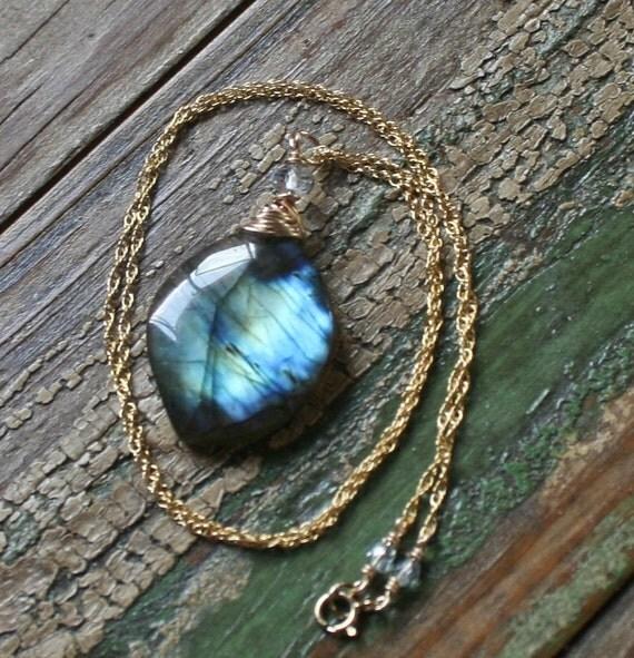 SALE Labradorite Gemstone Topped with Mystic Quartz Necklace, Delicate Lab