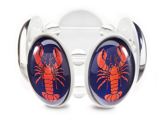 Lobstah White Five-Cameo Stretch Bracelet