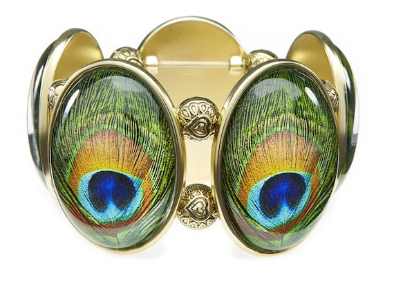 Peacock Five Cameo Stretch Bracelet