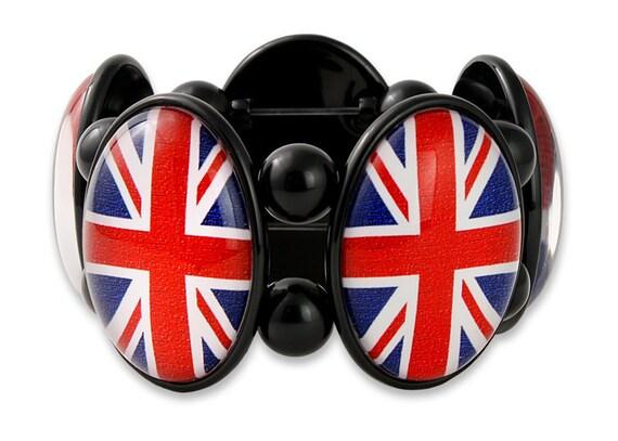Union Jack Five-Cameo Stretch Bracelet in Black