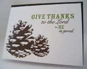 4 Pack-Give Thanks to the Lord Pinecone Card, White