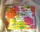 Blessing of Asher Yatzar on flowered pattern