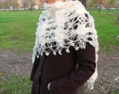 Ivory Shawl-Hand Knitted Romantic Shawl With Cheerful Flowers And Sym-Valentine's day Day Triangle TeamT