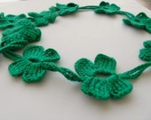 Shamrock Lariat Crocheted 4 Leaves Forest Green Clover Necktie,Shawl,Scarf,Necklace,St Patricks Day Spring fashion