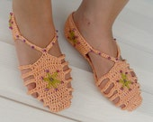 SALE Crocheted Slippers Gladiator Home sandals Mercerized Yarn Salmon Pink,Peach Orange Home Slippers Valentines Day Gift