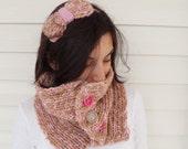Winter Fashion Variegated Yarn Neckwarmer camel and soft pink yarn  with bow headband Caramel TeamT