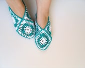 SALE Women socks, Handmade Slippers, Turkish Crocheted Slippers, Authentic footwear, Stylish foot wear, Granny Squareslippers