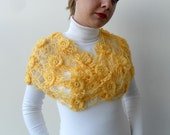 Mustard Yellow Shawl, Neckwarmer, Smiling Flowers, Gift For Her, Mum,Sisters-TeamT