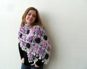 Purple Shawl Crocheted Flowers Amethyst Plum Lilac Lavender Shawl Cream Shawl Mothers Day Gift Spring Fashion