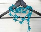 Crochet Lariat Teal Blue Flowers Crochet Scarf Spring Trends Under 20 Dark Mint Scarf bridesmaid gift