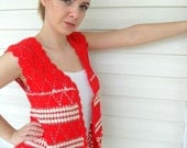 Crochet Vest Lace Tank Coral Red And White Top Romantic Top Summer Fashion Fire