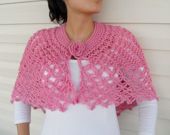 Breast Cancer Awareness,Hand Knitted Shawl, Pink Capelet, Poncho, Baby Pink Pure Pale Spring Honeysuckle Fashion Trend TeamT