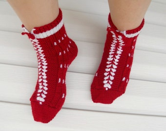 SALE Winter Socks Burgundy Red White Ruby Sweetheart Garnet  Valentines day Gift Knitted Socks Stocking Stuffer