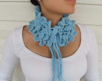Soft Blue Neckwarmer, Shawl, Christmasinjuly sale, Capalette, Shawl,Ocean Blue,Sky Blue Collar TeamT