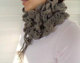 Winter Fashion-Khaki Soft Neckwarmer, Shawl, Winter Sale, Light, Romantic,Brown Taupe- TeamT
