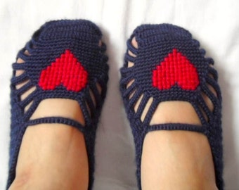 SALE Slippers, Crochet Slippers, Red Heart Home Slippers,Memorial Day Sale, Hand Embroidered Garnet Red Dark Blue Navy American
