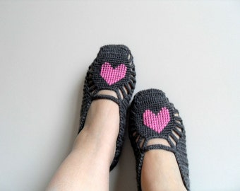 Valentines Day Gift,SALE Crochet Home Slippers, Pink Heart On Grey,  Hand Embroidered