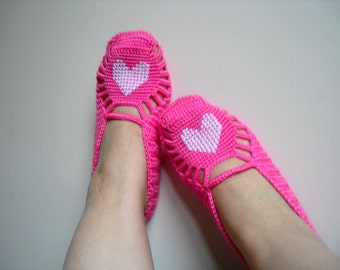 valentines day gift,Pink Home Slippers, White Heart On Candy Pink, Home Shoes, Hand Embroidered, Heart Fasihon
