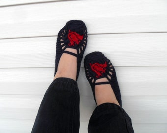 SALE Crochet Slippers Red Tulip on Dark Navy Blue Home Slippers Hand Embroidered Garnet Tulip Valentines Day Gift Patriotic Memorial Day
