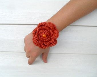 SALE Crocheted Bracelet Rusty Orange Christmas Gift With Pearl Bead Earth Tones Burnt Orange-TeamT