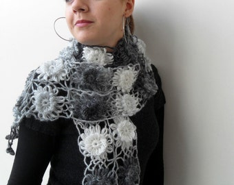 Crochet Shawl, Ombre Shawl, Black Shawl, Infinity Scarf,Black Grey White,Snow Neckwarmer,Flowers,Foggy Frosty,Cloudy