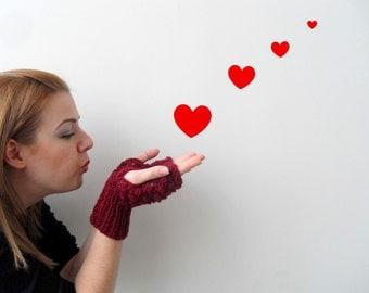 Hand Knit Fingerless Gloves Garnet Gloves Blackberry Knit Bubbles Burgundy Red Heart Kiss Fashion Valentines Day