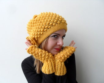 Knitted Hat and Fingerless Gloves Set Mustard Hat Yellow Slouchy Hat Ribbed Chunky Hat,Beanie,Sunny Beret Winter Accessory