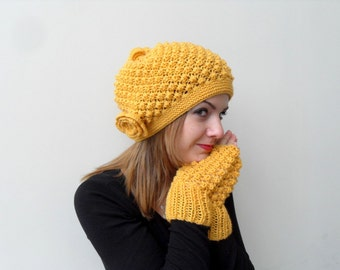 Hand Knitted Hat Mustard Hat Yellow Slouchy Hat Ribbed Chunky Hat,Bubble Hat,Beanie,Sunny Beret Winter Accessory