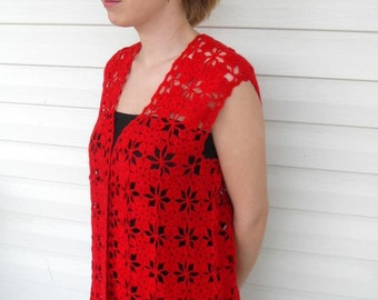 Crochet Vest Lace Tank Red Blood Top Romantic Top Summer Fashion Fire