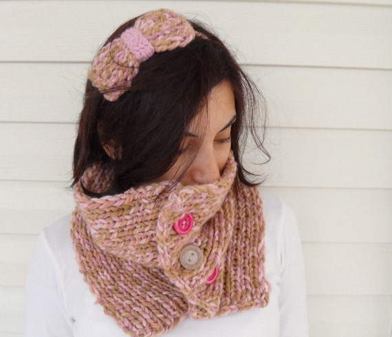 Knit Neckwarmer, Knit Scarf, Camel and Soft Pink, Bow Headband, Buttons, Winter Fashion