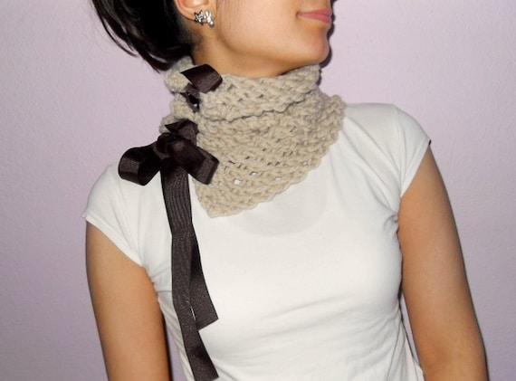 Winter Fashion- Beige Neckwarmer With Brown Bow Ribbon-Gift For Her-TeamT Mocha