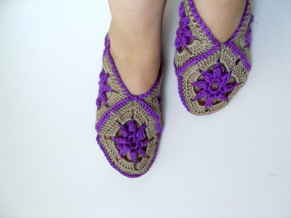 SALE Home Slippers Taupe And Deep Purple Slippers Winter Fashion Crochet Slippers Granny Square Light Soft Plum Violet Amethyst