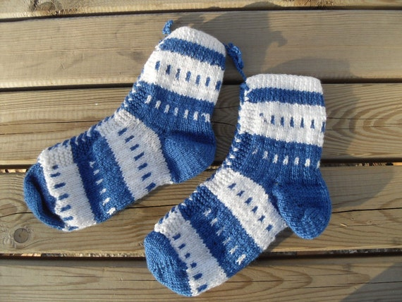 SALE Knitted Winter Socks Navy Sea Sapphire Blue And White Traditional Turkish Design-Nautical Sailor Ship American Patriot TeamT